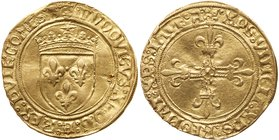 Louis XII (1498-1515). Gold Ecu d'or au soleil, de Provence, undated (3.37g). Third type, Aix en provence. Crowned arms, small radiate sun above. Rev....