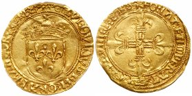 Louis XII (1498-1515). Gold Ecu d'or au soleil, undated (3.39g). Crowned arms of France with small sun above. Rev. Floriated cross (Fr 323; Dup 647). ...