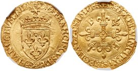 Francois I (1515-1547). Gold Ecu d'or, undated. Crowned arms, small radiate sun above. Rev. Two F's and two lis in angles of cross (Fr-345; Ciani 1073...