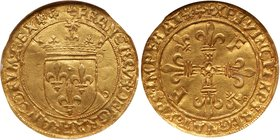 Francois I (1515-1547). Gold Ecu d'or, undated. Crowned arms, small radiate sun above. Rev. Two F's and two lis in angles of cross (Fr 345; Ciani 1073...