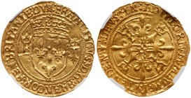 Francois I (1515-1547). Gold Ecu d'or de Bretagne, undated. Nantes mint. Crowned arms flanked by an F and an ermine. Rev. Two F's and two ermines in a...