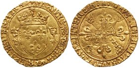 Francois I (1515-1547). Gold Ecu d'or de Bretagne, undated (3.41g). Second type. Rennes mint. Crowned arms flanked by two minks. Rev. Two F's and two ...