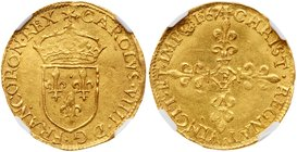 Charles IX (1560-1574). Gold Ecu d'or, 1567-B (3.29g). Rouen mint. Crowned arms. Rev. Floriated cross with mint mark in center (Fr 378; Ciani 1344). I...