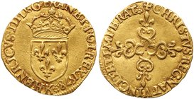 Henry III (1574-1589). Gold Ecu d'or au soleil, 1578-K (3.3g). Bordeaux mint. Crowned arms of France. Rev. Lobed floriated cross (Fr 386; Dup 1121A). ...