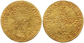 Louis XIII (1610-1643). Gold Half Ecu d'or, 1625-A (1.68g). Paris mint. Hammered coinage. Crowned arms of France. Rev. Lobed floriated cross (Fr 399; ...