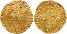 Louis XIII (1610-1643). Gold Ecu d'or, 1636-B (3.29g). Rouen mint. Hammered coinage. Crowned arms of France. Rev. Lobed floriated cross (Fr 398; Gad 5...