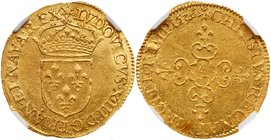 Louis XIII (1610-1643). Gold Ecu d'or, 1636-A (3.36g). Paris mint. Hammered coinage. Crowned arms of France. Rev. Lobed floriated cross (Fr 398; Gad 5...