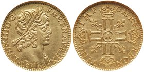 Louis XIII (1610-1643). Gold Half Louis d'or, 1640-A (Paris). Laureate bust right. Rev. Crowned double L's in cross form, fleur-de-lis in angles and m...