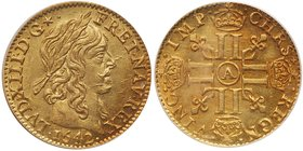 Louis XIII (1610-1643). Gold Half Louis d'or, 1642-A (Paris). Laureate bust right, with long curl. LVD. XIII. D.G star. Rev. Crowned double L's in cro...