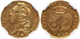 Louis XV (1715-1774). Gold Half Louis d'or au bandeau, 1743-W (Lille). Large head of king left with hair ribbon. Rev. Crown over two oval shields of F...