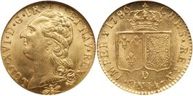 Louis XVI (1774-1792). Gold Louis d'or au buste nu, 1786-D (Lyon). Bare older bust of king left. Rev. Crown over two square shields of France and Nava...