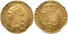 Louis XVI (1774-1792). Gold 2 Louis d'or, 1786-T (Nantes). Bare head of king left. Rev. Crown over two square shields (Fr 474; KM 592.14; Gad 363). In...