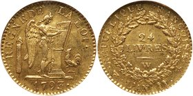 National Convention (1792-1795). Gold Louis d'or of 24 Livres, 1793-W (Lille). First Republic, Convention, 1792-1795. Winged genius (angel) right, ins...