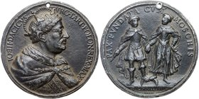 Medal. Lead, After Cast. 64 mm. To Commemorate Peace Between Russia and Poland, 1686. 