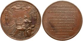 Medal. Bronze. 45 mm. By Hautsch and Lauffer. On the Sacred league between Russia, Poland, Venice and the Holy Roman Empire against the Turks, 1687.
