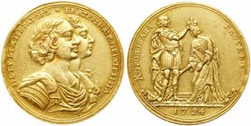 Medal of 12 Ducat weight. GOLD. 42 mm. 41.67 gm. By O. Kalashnikov. On the Coronation of Catherine I, 1724