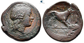 Bruttium. Rhegion. Second Punic War circa 215-211 BC. Overstruck on an issue of Rhegion with traces of lion's head on reverse (cf. SNG München 1602-16...