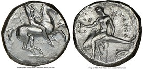 CALABRIA. Taras. Ca. 315-302 BC. AR didrachm (20mm, 6h). NGC VF. Sa-, magistrate. Warrior on horseback right; ΣA below / Taras, holding kantharos in e...