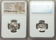 LUCANIA. Heraclea. Ca. 281-250 BC. AR stater (21mm, 7.62 gm, 8h). NGC Choice AU 5/5 - 2/5, Fine Style. Corinthian standard. HΡΑΚΛΗΙΩΝ, head of Athena ...
