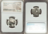 LUCANIA. Metapontum. Ca. 340-330 BC. AR stater or nomos (23mm, 6h). NGC Choice Fine. Ly-, magistrate. Head of Demeter left, wreathed with grain, weari...