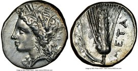 LUCANIA. Metapontum. Ca. 330-280 BC. AR stater (21mm, 7.83 gm, 3h). NGC Choice XF 5/5 - 3/5, brushed. Wreathed head of Demeter left / META, barley ear...