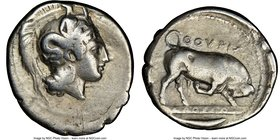 LUCANIA. Thurium. Ca. 410-350 BC. AR Stater (21mm, 10h). NGC Choice Fine. Head of Athena right wearing Attic helmet decorated with Scylla / ΘΟΥΡΙΩΝ, b...