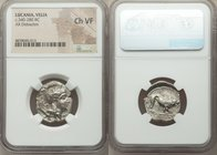 LUCANIA. Velia. Ca. 340-300 BC. AR didrachm (21mm, 12h). NGC Choice VF. Ca. 340-334 BC. Head of Athena right, wearing crested Attic helmet, the bowl d...
