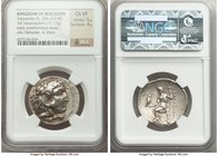 MACEDONIAN KINGDOM. Alexander III the Great (336-323 BC). AR tetradrachm (28mm, 17.17 gm, 12h). NGC Choice VF 5/5 - 4/5. Posthumous issue of uncertain...