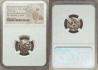 "MACEDONIAN KINGDOM. Alexander III the Great (336-323 BC). AR drachm (17mm, 5h). NGC XF. Early posthumous issue of ""Colophon,"" ca. 323-319 BC. Head of ..."
