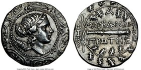 MACEDON UNDER ROME. First Meris. Ca. 167-148 BC. AR tetradrachm (31mm, 17.02 gm, 8h). NGC AU 4/5 - 4/5, flan flaw. Bust of Artemis right, wearing step...