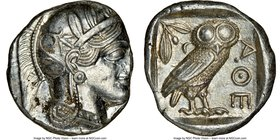ATTICA. Athens. Ca. 440-404 BC. AR tetradrachm (24mm, 17.22 gm, 1h). NGC MS 3/5 - 5/5. Mid-mass coinage issue. Head of Athena right, wearing crested A...
