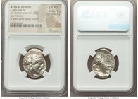 ATTICA. Athens. Ca. 440-404 BC. AR tetradrachm (23mm, 17.20 gm, 10h). NGC Choice AU 5/5 - 4/5. Mid-mass coinage issue. Head of Athena right, wearing c...