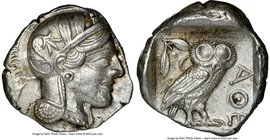 ATTICA. Athens. Ca. 440-404 BC. AR tetradrachm (25mm, 17.20 gm, 3h). NGC AU 5/5 - 4/5. Mid-mass coinage issue. Head of Athena right, wearing crested A...