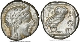 ATTICA. Athens. Ca. 440-404 BC. AR tetradrachm (24mm, 17.19 gm, 7h). NGC AU 5/5 - 4/5. Mid-mass coinage issue. Head of Athena right, wearing crested A...