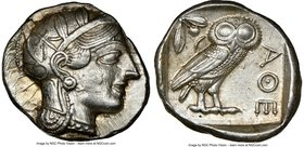 ATTICA. Athens. Ca. 440-404 BC. AR tetradrachm (25mm, 17.19 gm, 4h). NGC AU 5/5 - 4/5. Mid-mass coinage issue. Head of Athena right, wearing crested A...