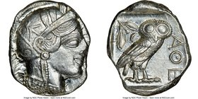 ATTICA. Athens. Ca. 440-404 BC. AR tetradrachm (22mm, 17.20 gm, 2h). NGC AU 4/5 - 4/5. Mid-mass coinage issue. Head of Athena right, wearing crested A...