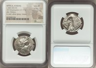 ATTICA. Athens. Ca. 440-404 BC. AR tetradrachm (24mm, 17.17 gm, 5h). NGC Choice XF 5/5 - 4/5. Mid-mass coinage issue. Head of Athena right, wearing cr...