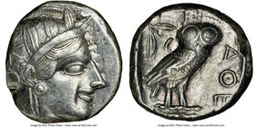 ATTICA. Athens. Ca. 440-404 BC. AR tetradrachm (23mm, 17.20 gm, 9h). NGC Choice XF 4/5 - 4/5. Mid-mass coinage issue. Head of Athena right, wearing cr...