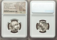 ATTICA. Athens. Ca. 440-404 BC. AR tetradrachm (23mm, 17.18 gm, 10h). NGC XF 4/5 - 4/5. Mid-mass coinage issue. Head of Athena right, wearing crested ...