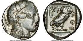 ATTICA. Athens. Ca. 440-404 BC. AR tetradrachm (24mm, 17.15 gm, 5h). NGC XF 2/5 - 4/5. Mid-mass coinage issue. Head of Athena right, wearing crested A...