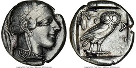 ATTICA. Athens. Ca. 440-404 BC. AR tetradrachm (24mm, 17.15 gm, 7h). NGC Choice VF 3/5 - 4/5. Mid-mass coinage issue. Head of Athena right, wearing cr...