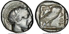 ATTICA. Athens. Ca. 440-404 BC. AR tetradrachm (23mm, 17.17 gm, 8h). NGC VF 2/5 - 5/5. Mid-mass coinage issue. Head of Athena right, wearing crested A...