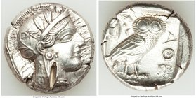 ATTICA. Athens. Ca. 440-404 BC. AR tetradrachm (24mm, 17.16 gm, 4h). AU, test cut. Mid-mass coinage issue. Head of Athena right, wearing crested Attic...