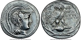 ATTICA. Athens. Ca. 165-42 BC. AR tetradrachm (30mm, 16.72 gm, 11h). NGC AU 5/5 - 3/5, brushed. New style coinage, ca. 136/5 BC, Hera-, Aristo- and Ap...