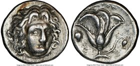 CARIAN ISLANDS. Rhodes. Ca. 305-275 BC. AR didrachm (20mm, 12h). NGC Choice VF Head of Helios facing, turned slightly right / POΔION, rose with bud to...