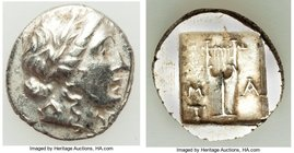 LYCIAN LEAGUE. Masicytes. Ca. 48-20 BC. AR hemidrachm (14mm, 2.06 gm, 1h). About XF. Series 1. Laureate head of Apollo right; Λ-Y below / M-A, cithara...