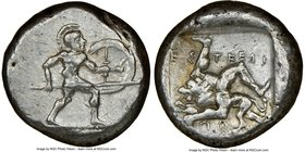 PAMPHYLIA. Aspendus. Ca. mid-5th century BC. AR stater (21mm, 11.03 gm, 12h). NGC XF 5/5 - 3/5. Helmeted nude hoplite warrior advancing right, shield ...