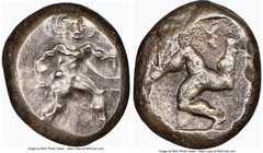 PAMPHYLIA. Aspendus. Ca. mid-5th century BC. AR stater (18mm). NGC Choice Fine. Helmeted nude hoplite advancing right, shield in left hand, spear forw...