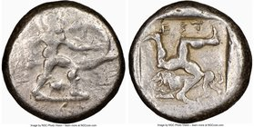 PAMPHYLIA. Aspendus. Ca. mid-5th century BC. AR stater (21mm, 9h). NGC Fine. Helmeted nude hoplite warrior advancing right, shield in left hand, spear...