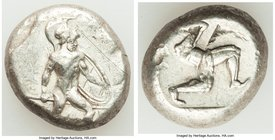 PAMPHYLIA. Aspendus. Ca. mid-5th century BC. AR stater (18mm, 10.90 gm). VF, scratch. Ca. 465-430 BC. Helmeted nude hoplite advancing right, spear for...